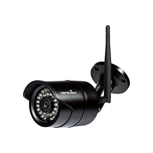 Wansview WLAN IP Kamera, Überwachungskamera 1080P HD für Außen mit LAN & WLAN Verbindung, Outdoor WiFi IP66 Wasserdichte Sicherheitskamera, Infrarot Nachtsicht, deutsche App/Anleitung W2 (Schwarz)