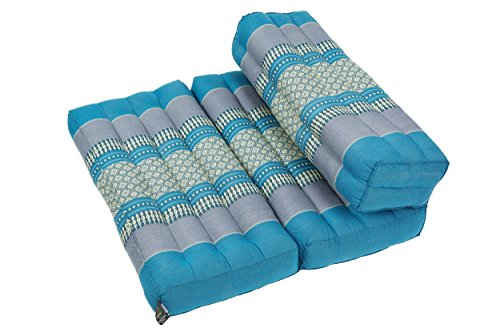 Faltbares Meditationskissen, Meditationssitz für verschiedene Meditationstechniken, als Zafu und Zabuton, für Anfänger geeignet mit fester Füllung aus Kapok, Thai Style blau