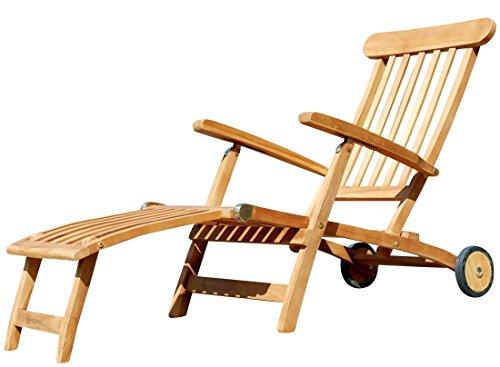 ASS Hochwertiger Teak Steamer DECKCHAIR Deckstuhl Liegestuhl Sonnenliege Gartenliege Relaxsessel Holz mit Rädern Luna