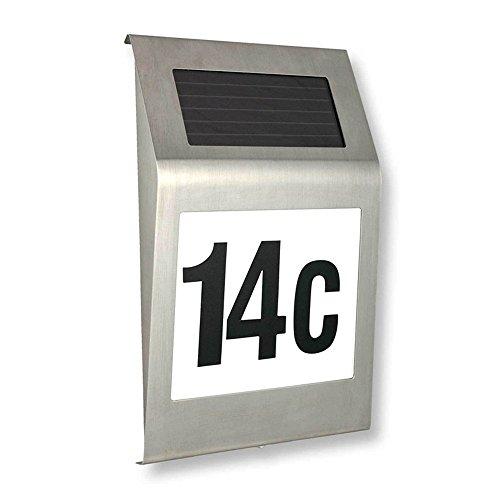 MCTECH LED Solarhausnummer edelstahl Solar Hausnummernleuchte LED Beleuchtete Hausnummer 2 LED mit Dämmerungsschalter und amorphem Silizium- Solar-Panel (B Type)