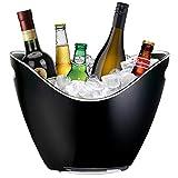 YOBANSA 8L Acryl Eis Eimer Champagner Eimer Wein Eimer, Große Eiskübel, Küche Obst und Gemüse Vorratsbehälter (Schwarz 01)