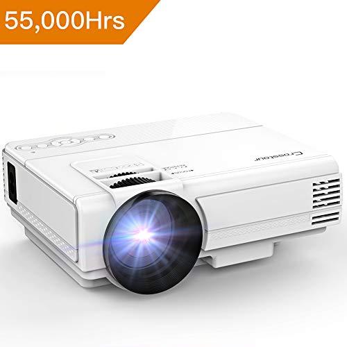 Beamer, Crosstour Mini LED Tragbarer Beamer, Heimkino Videoprojektor Unterstützung Full HD1080P Kompatibel mit HDMI, USB, SD-Karte, VGA / AV und Smartphone