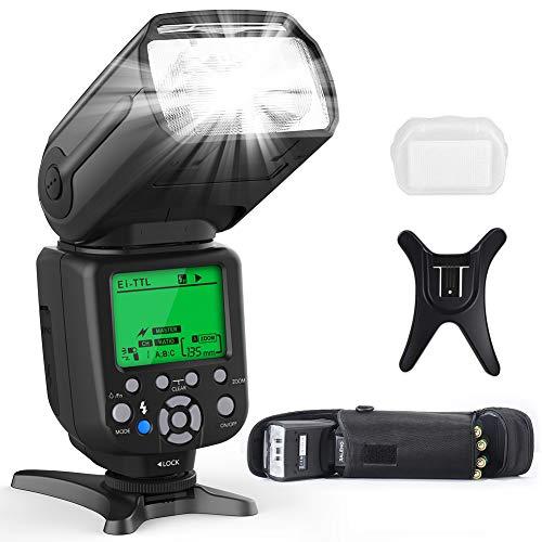 Flash Blitz Blitzgerät für Canon & Nikon DSLR Kameras, RALENO Auto-Focus Flash Speedlite Wechseln Sie Frei Zwischen E-TTL und i-TTL, mit LCD Bildschirm Kit Hart & Soft-Diffusor Objektivdeckelhalter