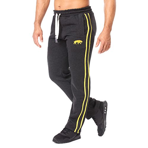 SMILODOX Herren Jogginghose | Trainingshose für Sport Fitness Gym Training & Freizeit | Sporthose - Jogger Pants - Sweatpants Hosen - Freizeithose Lang, Farbe:Anthrazit/Gelb, Größe:L