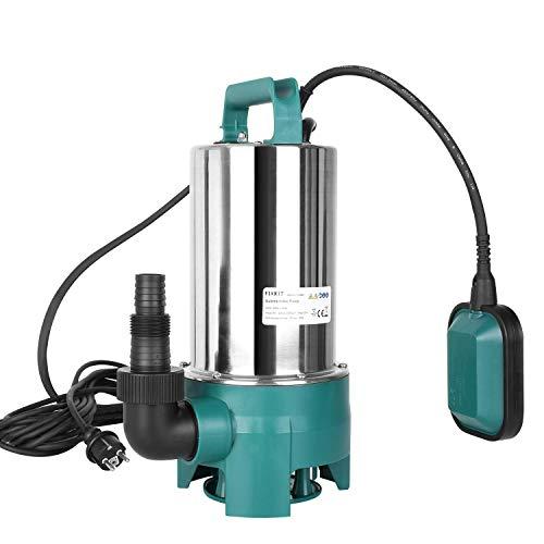 FIXKIT Schmutzwasserpumpe Tauchpumpe(1100 W 20000 l/h max. Förderhöhe 9m Fremdkörper bis 35 mm Schwimmerschalter Edelstahl Kunststoff)