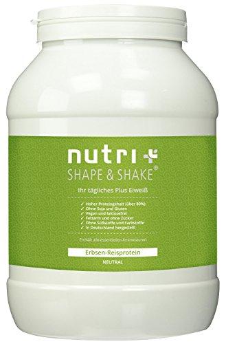 Nutri-Plus Erbsen-Reisprotein - Veganes Eiweißpulver ohne Soja, Gluten, Laktose und Süßstoffe - Neutral 1kg - Hypoallergen