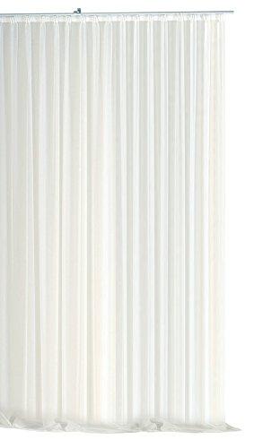 Voile Dekoschal Gardine Emotion weiß 300x245 cm Organza Vorhang Kräuselband klassisch transparent mit beschwertem Abschlußband Langstore #1309 (300x245)