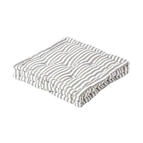 Homescapes dekoratives Sitzkissen Stuhlkissen Sitzerhöhung Stuhlauflage Stripes, grau/weiß, 50 x 50 cm, 100% reine Baumwolle mit Polyester Füllung