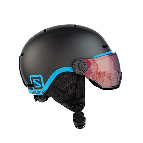 Salomon Kinder Grom Visor Ski- und Snowboardhelm, mit Visier, In-Mold-Schale und EPS-Innenschale, Kopfumfang 53-56 cm, schwarz, Größe M, L39916300