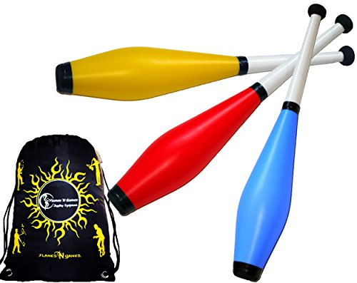 TRAINER Jonglierkeulen 3er-Set (Blau/Rot/Gelb) Jonglier Keulen Training Set + Flames N Games Reisetasche! Große Jonglierkeule Set für Kinder & Erwachsene!