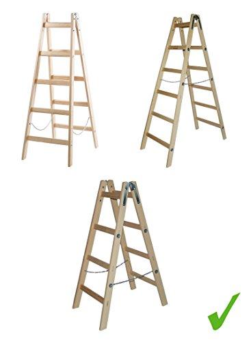 PRAKTISCHE HOLZLEITER STEHLEITER KLAPPBAR 150 kg Traglast Leiter Holz Sprossenstehleiter 1,25 m / 1,55 m / 1,85 m (1,25 m)