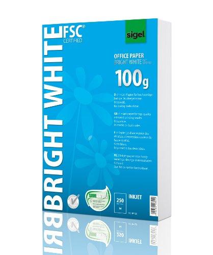 Sigel IP125 InkJet-Papier A4 ultraweiß, beidseitig bedruckbar, 100 g, 250 Blatt