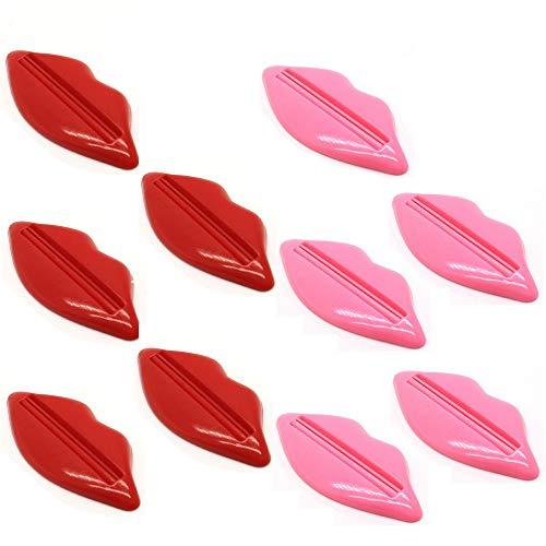 Xinlie 10 Stück Tubenpresse Tubenquetscher Zahnpasta Tube Ausdrücker Bathroom Lip Toothpaste Facial Foam mildy wash Squeezer Tube Dispenser Badezimmer Accessoires (Rot und Rosa, Zufällige Farbe)