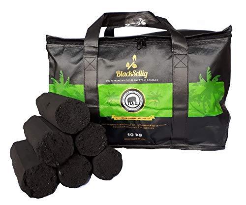 BlackSellig 10 Kg Stangen Kokos Grill Briketts XXL Reine Kokosnussschalen Grillkohle - perfekte Profiqualität