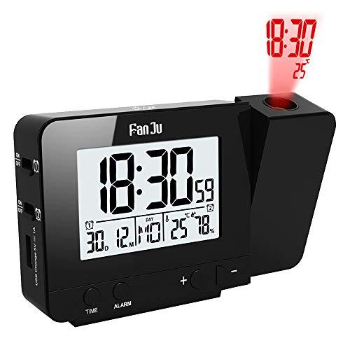 FanJu FJ3531 Projektionswecker mit Temperatur und Zeit-Projektion / USB-Ladegeräte / Innentemperatur und Luftfeuchtigkeit / DCF automatische Zeitanpassung / Kalender / Doppel Alarme mit Snooze-Funktion.