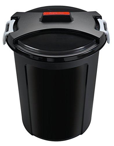 HEIDRUN Universaltonne, Matrix-Tonne, 65 cm Höhe, Ø 55 cm, 75 l, rund, mit Deckel, in schwarz, aus Kunststoff