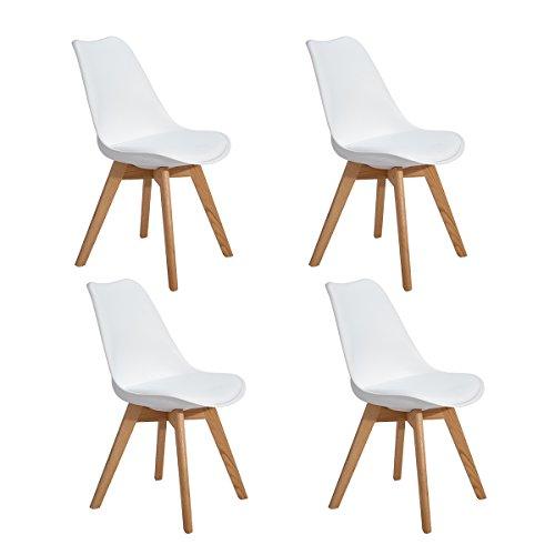 4er Set Esszimmerstühle mit Massivholz Eiche Bein, Retro Design Gepolsterter lStuhl Küchenstuhl Holz, Weiß