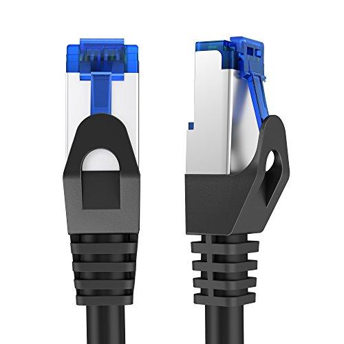 KabelDirekt - Cat6 Ethernet Gigabit Lan Netzwerkkabel - 5m - (RJ45, F/UTP geschirmt, Cat5/Cat5e kompatibel, bis zu 1.000 Mbit/s, Patchkabel, geeignet für Switch, Router, Modem, schwarz) - PRO Series