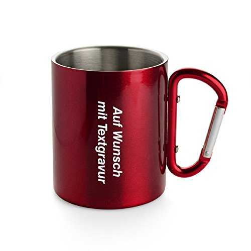 Creativgravur Doppelwandige Edelstahl Tasse 300 ml Thermobecher mit Karabinerhaken - leicht für Camping oder Outdoor, Farbe:Rot