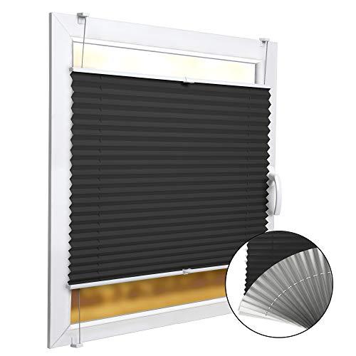 Sol Royal Thermo Plissee Verdunklung SolReflect P41 Klemmfix Plissee 80x220 cm (BxH) - Bodentiefes Fenster Plisseerollo ohne Bohren mit Thermoeffekt - Kälte & Hitzeschutz in Anthrazit