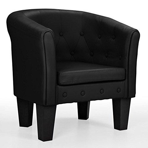 Homelux Chesterfield Sessel, aus pflegeleichtem Kunstleder und Holz, mit Rautenmuster, Farbwahl, Lounge Sessel, Clubsessel, Armsessel, Cocktailsessel, Wohnzimmer Möbel, Design-Polstermöbel, SCHWARZ