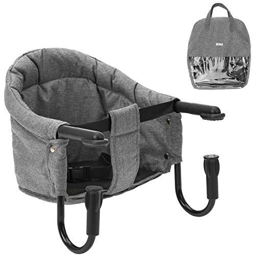Fillikid Tischsitz Babysitz - faltbare Baby Sitzerhöhung/Booster Sitz mit Anti-Rutsch-Klemmen und Tragetasche - Kinder Reisehochstuhl für dicke Tischplatten - Grau