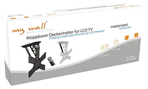 myWall HL12WML Klappbarer, motorisierter Deckenhalter für Flachbildschirme, 23-55 Zoll (58-140cm), bis 30Kg weiß