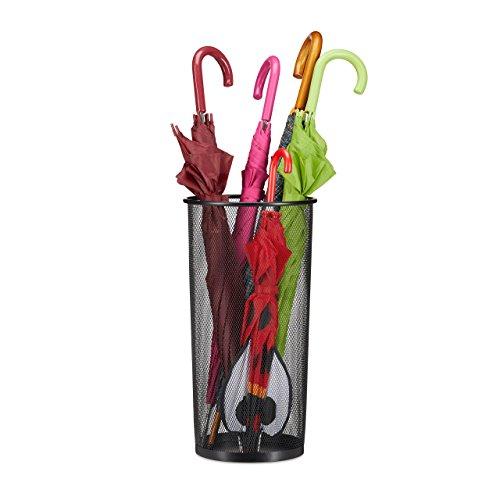 Relaxdays Schirmständer Metall, Schirmhalter aus Korbgeflecht, Stockhalter Mesh, 26cm Ø, 50cm Hoch, Verschiedene Farben