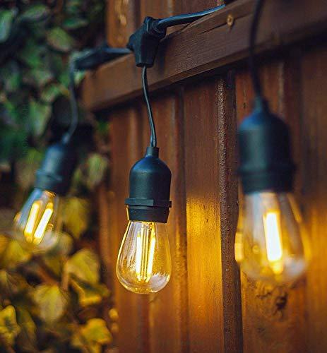 OxyLED LED Lichterkette Außen,S14 Lichterkette Glühbirne LED Retro,15M IP65 Wasserdicht,15X2W LED Birnen E27 Warmweiß 2500K Beleuchtung für Innen und Außen Deko Garten Hochzeit