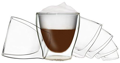 6x 200ml DUOS doppelwandige Gläser, Teegläser, Kaffeegläser, Thermogläser - Set mit Schwebe-Effekt, auch für Wasser, Whiskey, Cola, Säfte, Desserts, Eis uvm. geeignet, DUOS by Feelino …