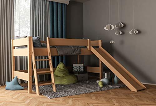 Furnneo Hochbett Weiß für Kinder 100% aus Buche, Kinderbett,Spielbett Halbhochbett Absturzsicherung & Leiter, Liegefläche 90 x 200 cm