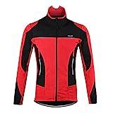 d.Stil Herren Fahrradjacke Langarm Fleece Winddicht MTB Jacke S - 2XL (Rot, L (Körpergröße: 175-180 cm Gewicht: 70-80 kg))
