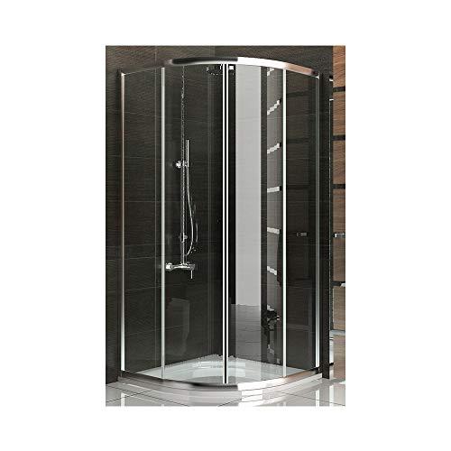 Echtglas Schiebetür Viertelkreis Duschkabine 90x90 x190 cm mit Nanobeschichtung Duschabtrennung mit Rahmen Dusche Komplett inkl. Glasveredelung Trennwand Duschwand
