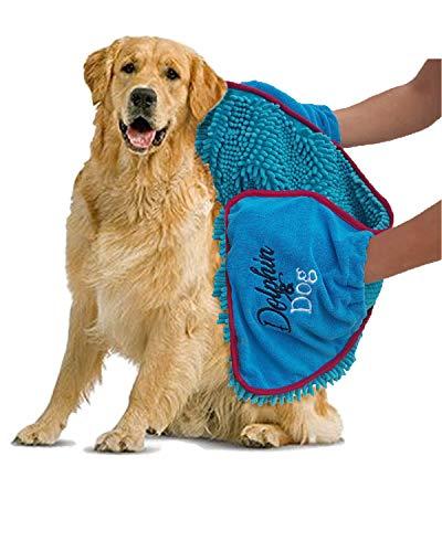 Dolphin and Dog Hundehandtuch mit Handtaschen, sehr saugfähig, Mikrofaser-Chenille, 71 x 30 cm, ideal für jedes Haustier, schnelltrocknend und maschinenwaschbar