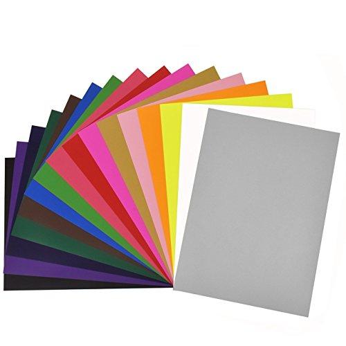 Newcomdigi Textilfolien Transferpapier Transferfolie Vinylfolien für farbige Textilien A4 210 x 297 mm 16 Blatt zufällige Farben