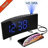 (Neuste Version)Projektionswecker,PICTEK Wecker,Radiowecker/Digital Wecker/Großes Display/Dimmer/Dual-Alarm/4 Alarmtöne, Snooze/Timer,12/24-Stunden,USB-Anschluss,120° Projektor,180°Flip-Anzeige