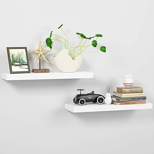 Homfa Wandregal 2er Set Wandboard Bücherregal Schweberegal Hängeregal Küchenregal Büroregal Kinderregal Holzregal Dekoregal Steckboard CD DVD Regal aus MDF weiß 60 * 20 * 3.8cm