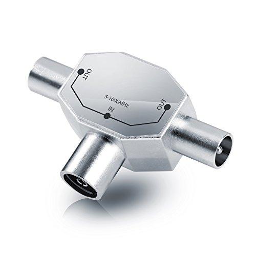 CSL - Antennen-Verteiler Voll geschirmt (2-Wege) | Zweigeräte-Verteiler für TV / T-Adapter | Koax-Kupplung | 2x Koax-Stecker | DVB-T/BK | 5 - 1000 MHz | robustes Vollmetallgehäuse | kabelfernsehtauglich