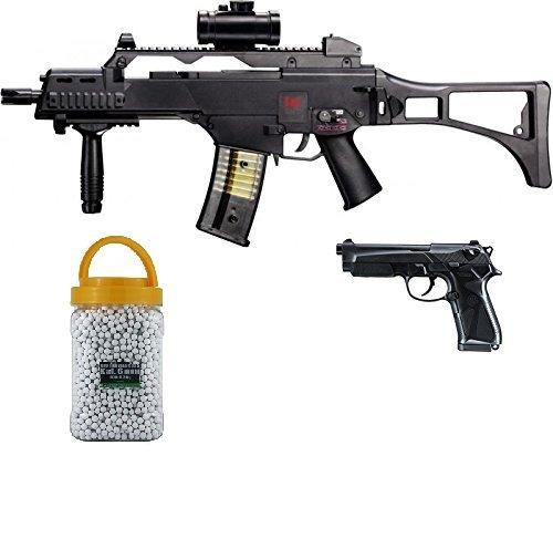 SET: HK Heckler & Koch G36 C AEG ELEKTRISCH Softair Gewehr + Softair Pistole Beretta 90 two Federdruck + G8DS PREMIUM BIO BB Softairkugeln weiß 6mm 0,20g 5000 BBs