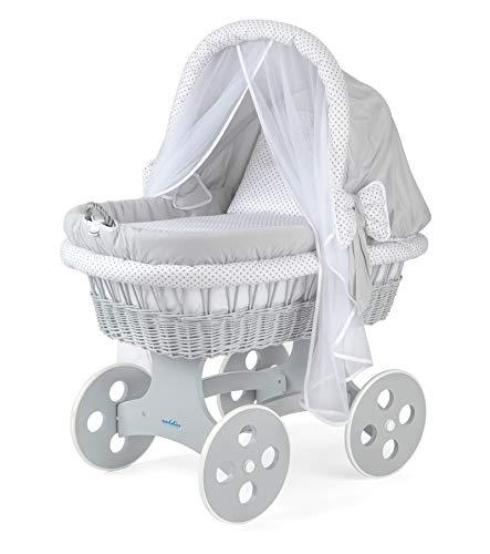 WALDIN Baby Stubenwagen-Set mit Ausstattung,XXL,Bollerwagen,komplett,44 Modelle wählbar,Gestell/Räder grau lackiert,Stoffe grau/Punkte grau