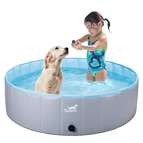 Toozey Hundepool für Große & Kleine Hunde, 80cm / 120cm / 160cm Faltbare Hunde Pools, Planschbecken für Kinder und Hunde, Hundebadewanne, 100% Sicher & Umweltfreundlich, 1 + 4 Jahre Garantie