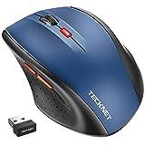 TeckNet Wireless Maus, Classic 2.4G USB kabellose Mäuse Optischer PC Computer Laptop Maus mit 18 Monaten Akkulaufzeit, 2400 DPI 5 Anpassungsebenen, Nano-Empfänger, 6 Tasten für Windows Mac Macbook Linux