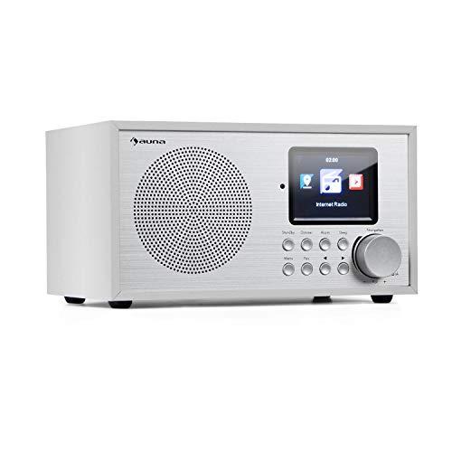 auna Silver Star Mini Internetradio mit Bluetooth • DAB+/UKW Radio • WLAN • USB • AUX-In • Line-Out • 8 W RMS • HCC-Display • inkl. Fernbedienung • weiß