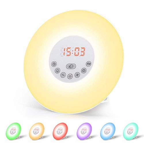 Wecker Wake Up Light Lichtwecker, mit 7 Wecktöne (inkl. 2Naturklänge und FM), 7Farben, 10Dimmstufen, Sonnenaufgangssimulator, Nachtlicht mit Adapter, Wecker für Kinder oder Erwachsene(Neue Version) (6638)
