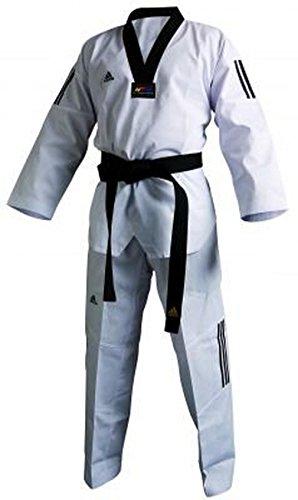 adidas Dobok Adiclub 3S - weisses Revers Taekwondo-Anzug (170)