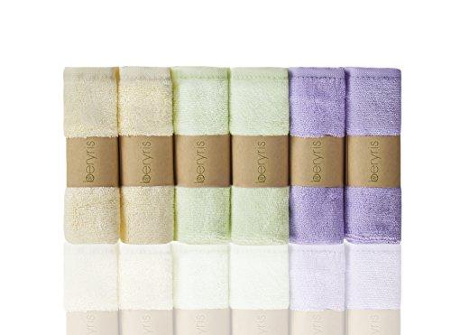 Bambus Baby Waschlappen (6er-Pack) ultra-weich, super absorbierende Handtücher | Schonend auf empfindliche Haut für Säuglinge, Kleinkinder | Natürlich antibakterielle, hypoallergene