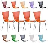 CLP 4er Set Stapelstuhl AARON ergonomisch geformter Besucherstuhl mit Holzsitz und stabilem Metallgestell | Platzsparender Stuhl mit pflegeleichter Sitzfläche und einer Sitzhöhe von 45 cm | In verschieden Farben erhältlich Weiß