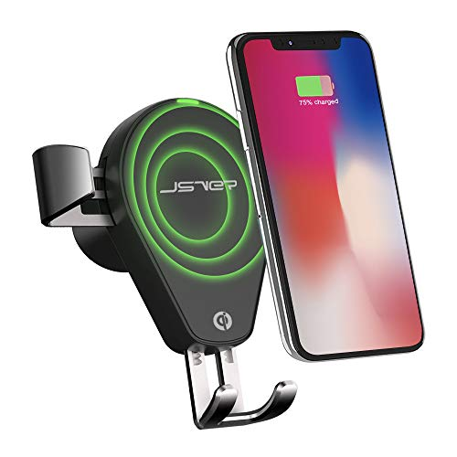 JSVER Wireless Charger Auto, QI Ladegerät Kabelloses Kfz Induktionsladegeräte 10W Air Vent Handy Halterung für iPhone XS Max, X, Samsung Galaxy S9/S8 Note 8/Note 5, andere QI Befähigte Geräte
