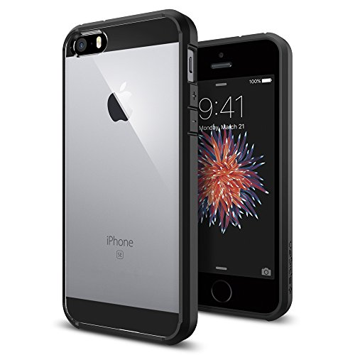 iPhone SE Hülle, Spigen [Ultra Hybrid] Luftpolster Technologie [Schwarz] Einteilige Transparent Handyhülle Durchsichtige PC Rückschale mit Silikon TPU Bumper Schutzhülle für iPhone SE/5S/5 Case Cover  - Black (SGP10515)