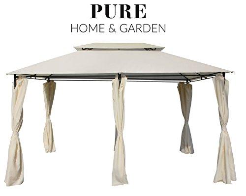 Pure Home & Garden Luxus Pavillon Capiata Natur, UV-Schutz 40 Plus, inkl. Aller Seitenteile, 300 x 400 cm